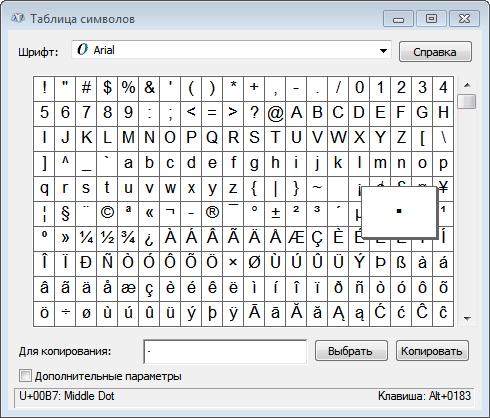 знак умножения в таблице символов